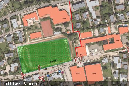 Lageplan Verkehrssicherung Schulneubau - sicherer Schulweg entlang der Baustelle ab 17.11.2020 in rot