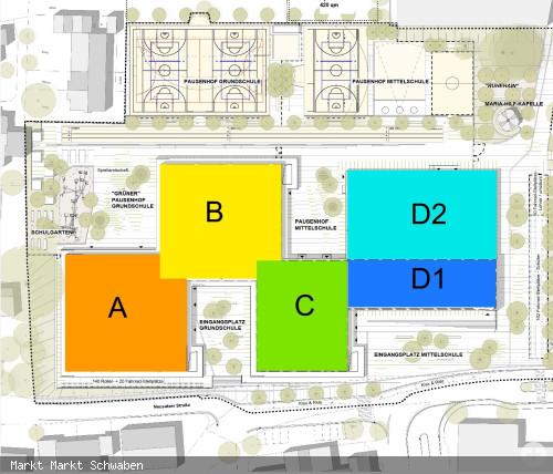 Übersicht der Bauteile Neubau kommunales Schulzentrum