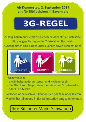 3G-Regel Bücherei ab 03.09.2021